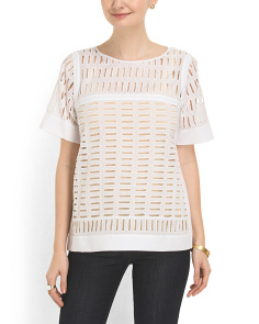 image of Short Sleeve Voile Eyelet Top