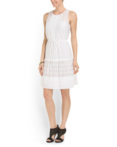 image of Eyelet Detail Drawstring Dress