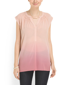 image of Silk Sleeveless Dip Dye Top