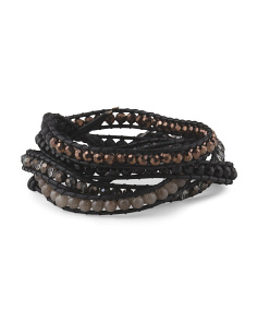 image of Multi Crystal Leather Cord Wrap Bracelet
