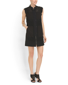 image of Sleeveless Eyelet Shirt Dress