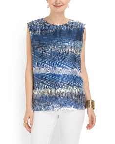image of Silk Scribble Stripe Print Top