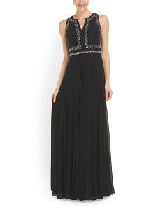 image of Silk Split Neck Gown