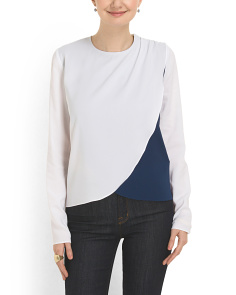 image of Contrast Panel Faux Wrap Top