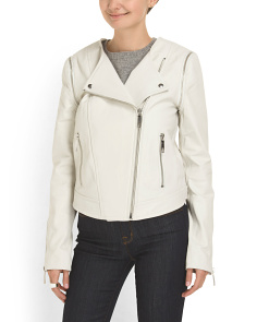 image of Leather Zip Off Sleeve Jacket