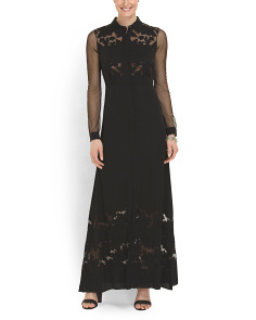 image of Silk Blend Long Sleeve Gown
