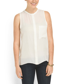 image of Silk Concealed Placket Tank