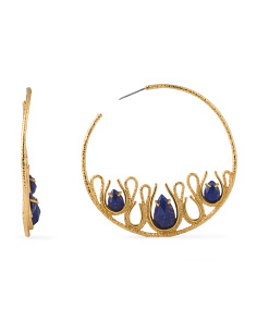 image of Scallop Lapis Hoop Earrings