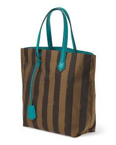 image of Made In Italy Canvas Leather Trim Pequin Tote
