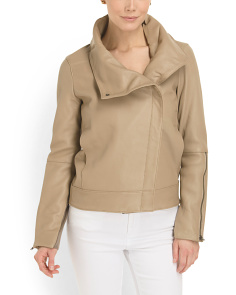 image of Leather High Collar Jacket