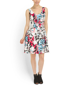 image of Molded Seam Floral Print Dress