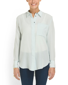 image of Silk Shirt Tail Hem Blouse