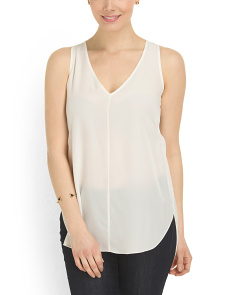 image of Silk V Neck Woven Tank