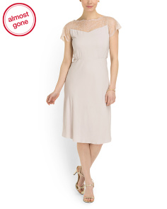 image of Made In Italy Lace Cap Sleeve Dress