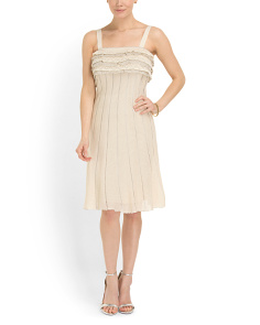 image of Made In Italy Knit Ruffle Top Metallic Dress