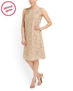 image of Made In Italy Lace Satin Dress