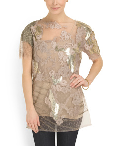 image of Made In Italy Beaded And Tulle Top