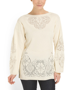image of Made In Italy Ivory And Lace Sweater