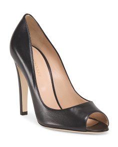 image of Made In Italy Leather Peep Toe Sandal