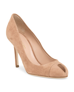 image of Made In Italy Suede Peep Toe Pump
