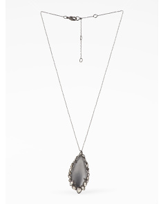 image of Embellished Grey Lucite Necklace