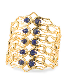 image of Scalloped Lapis Cuff Bracelet