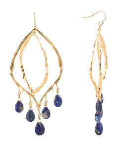 image of Dangle Feather Lapis Drop Earrings