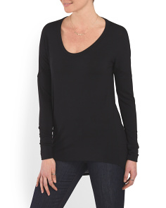image of Cowl Back Long Sleeve Top