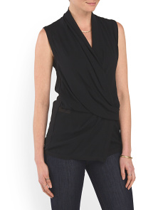 image of Silk Faux Wrap Top