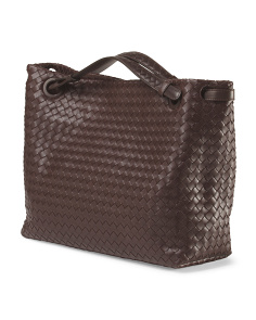 image of Made In Italy Leather Woven Double Handle Tote