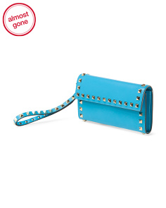 image of Made In Italy Leather Rockstud Wristlet