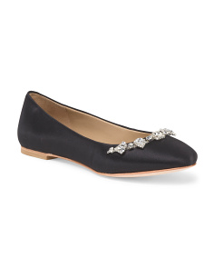 Leather Crystal Ballet Flat