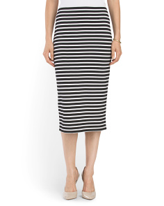 Striped Ponte Midi Skirt