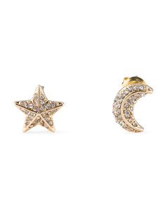 Gold Tone And Crystal Star And Moon Mismatched Stud Earrings