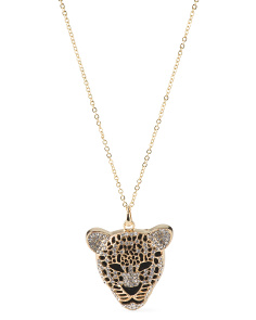 Crystal Panther Gold Tone Pendant Necklace
