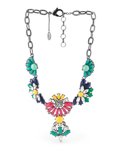Multi Color Stone And Crystal Frontal Necklace