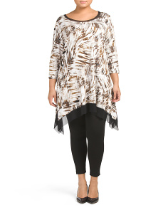 Plus Three Quarter Sleeve Scoop Neck Tunic