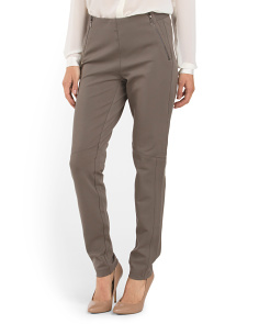 Pull On Zip Front Ponte Pant