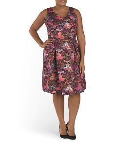 Plus Floral Fit And Flare Dress