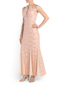 All Over Lace Halter Gown