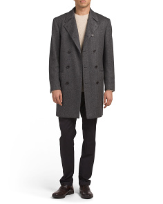 Made In Italy Herringbone Cashmere Overcoat