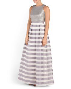 Sleeveless Striped Long Gown