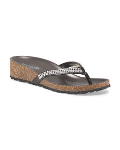 Made In Italy Rhinestone Thong Sandal