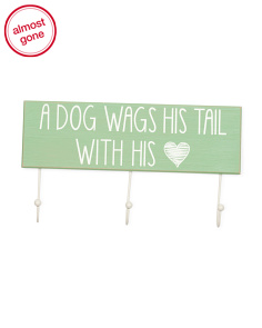 5x16 Wood Dog Sign With Hooks