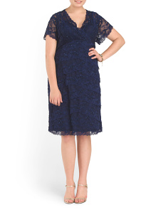 Plus Beaded Stretch Lace Dress