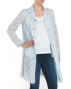 Lace Coat With Crystal Buttons