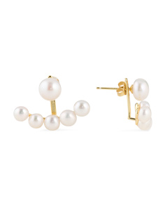 Gold Plated Sterling Silver Pearl Front To Back Earrings