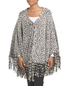 Juniors Marled Poncho With Fringe