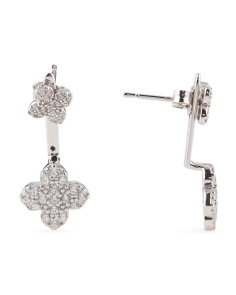Rhodium Plated Sterling Silver Flower Front To Back Earrings