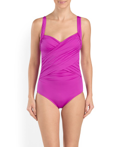 Solid Draped Mio One-Piece
